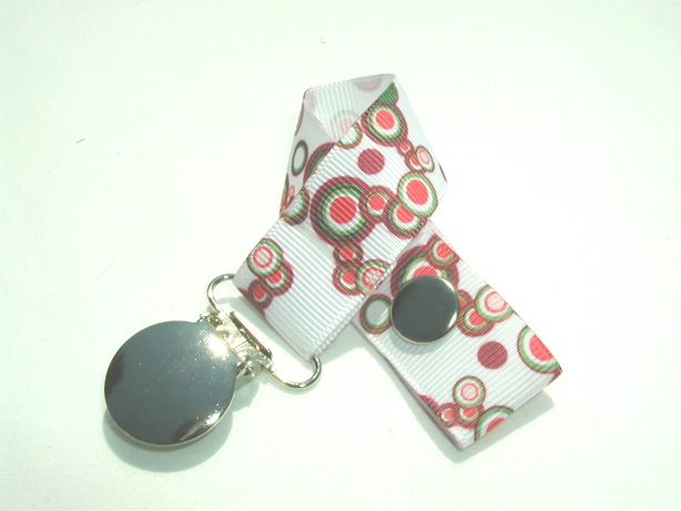 Retro Red Circles Pacifier Holder-Retro Red Circles Pacifier Holder