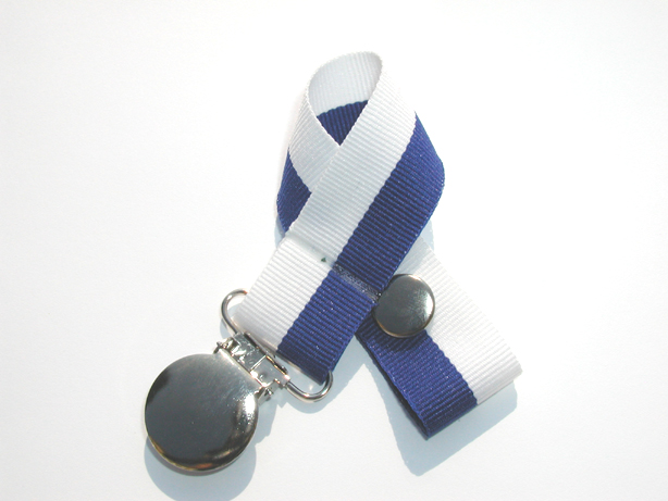 Royal/White Bi-Stripe Pacifier Holder-Royal/White Bi-Stripe Pacifier Holder