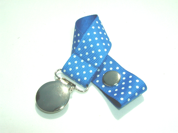 Royal w/ White Mini Dots Pacifier Holder-Royal w/ White Mini Dots Pacifier Holder