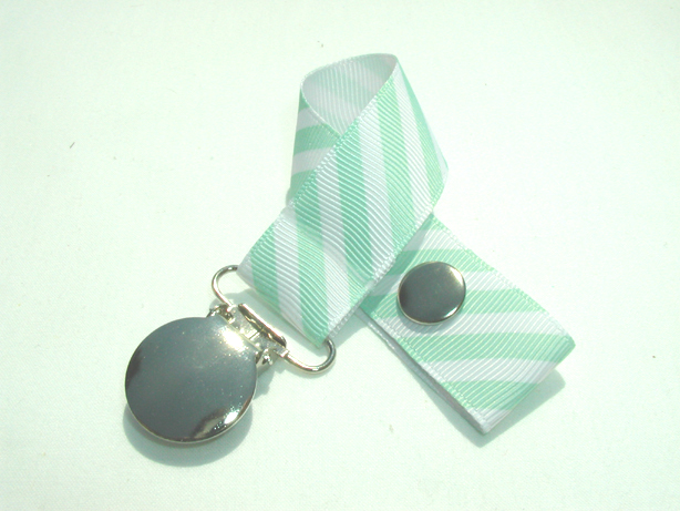 Mint Pastel Stripe Pacifier Holder-Mint Pastel Stripe Pacifier Holder