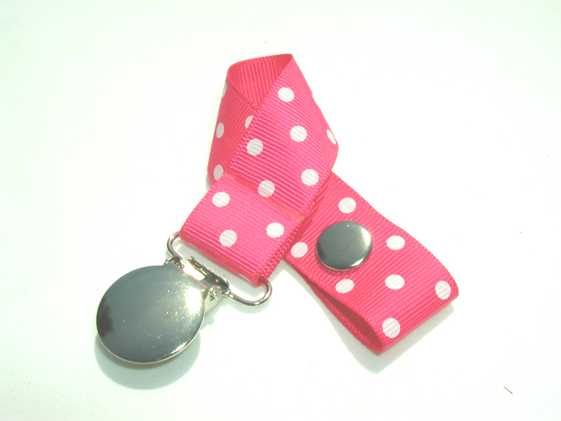 Shocking Pink w/ White Swiss Dots Pacifier Holder-Shocking Pink w/ White Swiss Dots Pacifier Holder