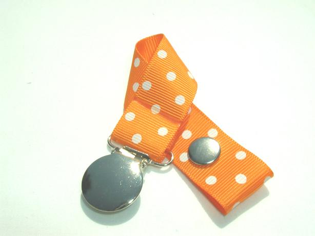 Tangerine w/ White Swiss Dots Pacifier Holder-Tangerine w/ White Swiss Dots Pacifier Holder