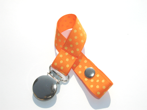 Tangerine w/ Yellow Mini Swiss Dots Small Pacifier Holder-Tangerine w/ Yellow Mini Swiss Dots Small Pacifier Holder