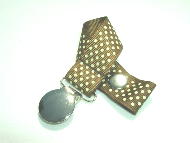 Turftan w/ Cream Mini Dots Pacifier Holder-Turftan w/ Cream Mini Dots Pacifier Holder