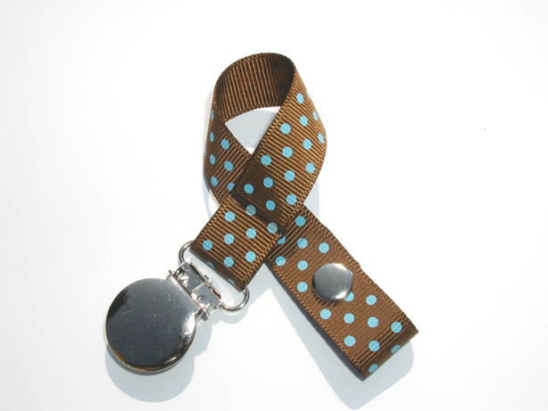 Turftan w/ Blue Mini Swiss Dots Small Pacifier Holder-Turftan w/ Blue Mini Swiss Dots Small Pacifier Holder