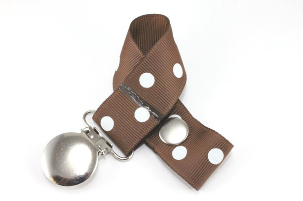Turftan w/ White Polka Dots Pacifier Holder-Turftan w/ White Polka Dots Pacifier Holder