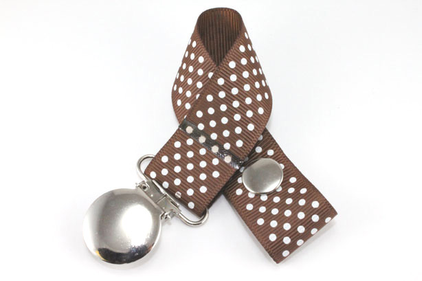 Turftan w/ White Mini Dots Pacifier Holder-Turftan w/ White Mini Dots Pacifier Holder