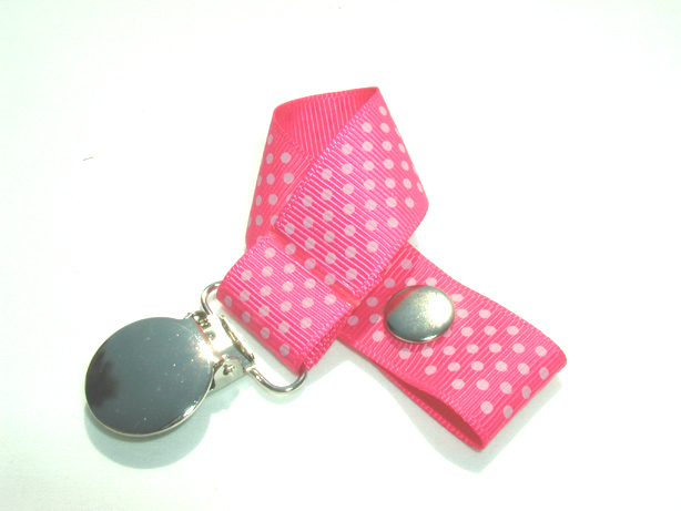 Shocking Pink w/ Grey Mini Dots Pacifier Holder-Shocking Pink w/ Grey Mini Dots Pacifier Holder