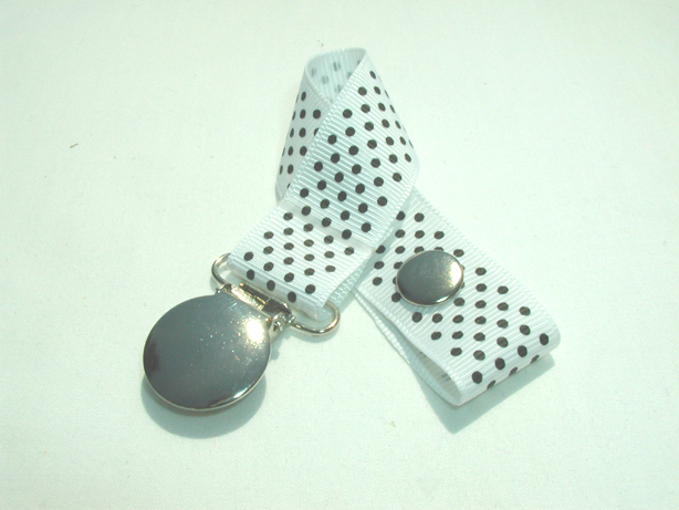 White w/ Black Mini Dots Pacifier Holder-White w/ Black Mini Dots Pacifier Holder