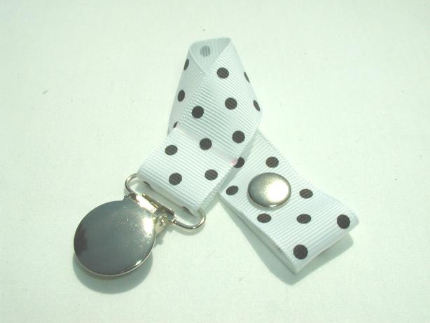 White w/ Black Swiss Dots Pacifier Holder-White w/ Black Swiss Dots Pacifier Holder
