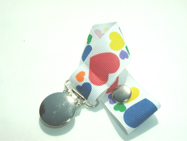 White Hearts Pacifier Holder-White Hearts Pacifier Holder