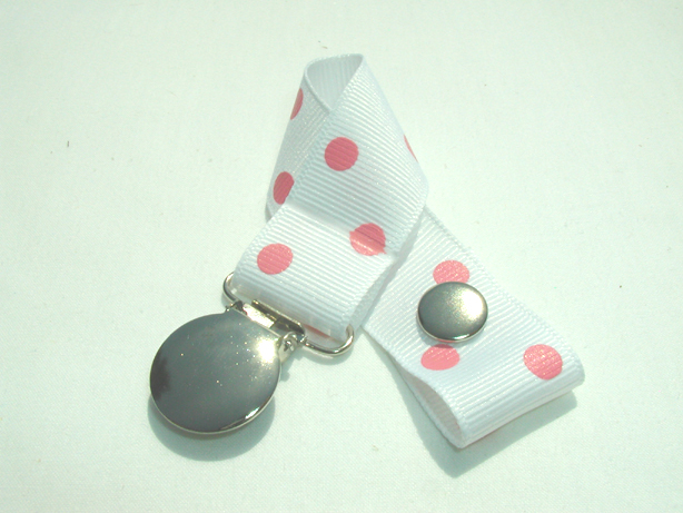 White w/ Pink Polka Dots Pacifier Holder-White w/ Pink Polka Dots Pacifier Holder