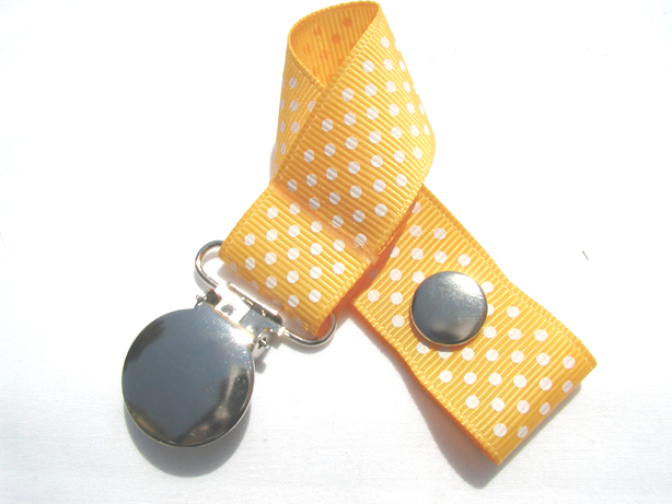 Yellow Gold w/ White MIni Dots Pacifier Holder-Yellow Gold w/ White MIni Dots Pacifier Holder