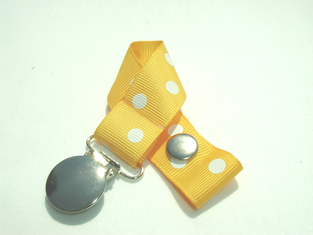 Yellow Gold w/ White Polka Dots Pacifier Holder-Yellow Gold w/ White Polka Dots Pacifier Holder