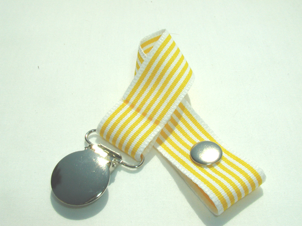 Yellow Stripes Pacifier Holder-Yellow Stripes Pacifier Holder