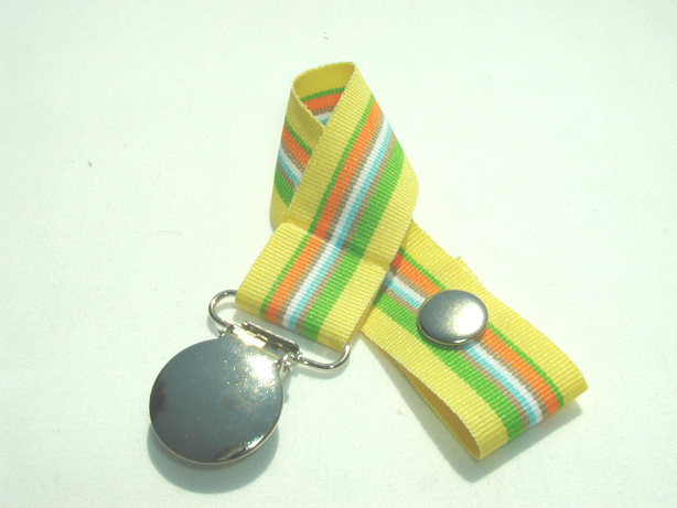 Yellow Sunshine Stripe Pacifier Holder-Yellow Sunshine Stripe Pacifier Holder