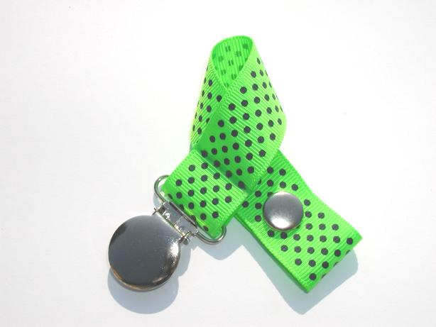 Acid Green w/ Blue Mini Dots Pacifier Holder-Acid Green w/ Blue Mini Dots Pacifier Holder