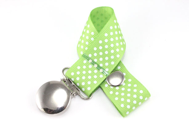 Apple Green w/ White Mini Dots Pacifier Holder-Apple Green w/ White Mini Dots Pacifier Holder
