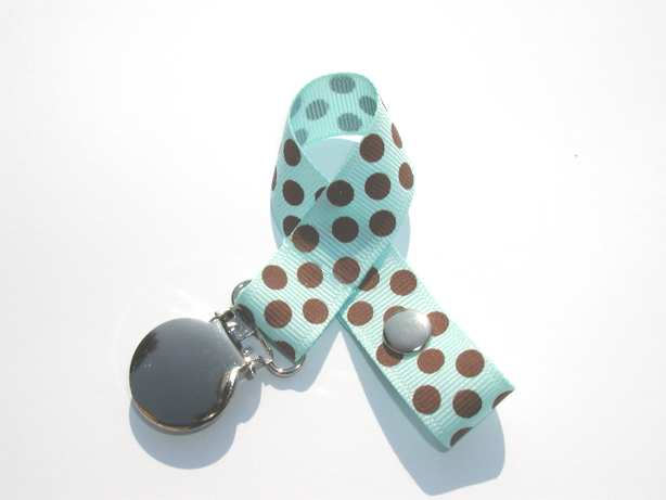 Baby Blue Brown Dots Pacifier Holder-Baby Blue Brown Dots Pacifier Holder
