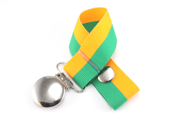 Emerald/Gold Bi-Stripe Pacifier Holder-Emerald/Gold Bi-Stripe Pacifier Holder