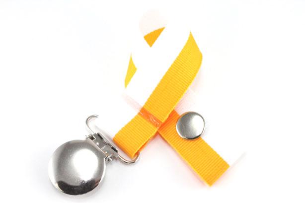 White/Gold Bi-Stripe Pacifier Holder-White/Gold Bi-Stripe Pacifier Holder