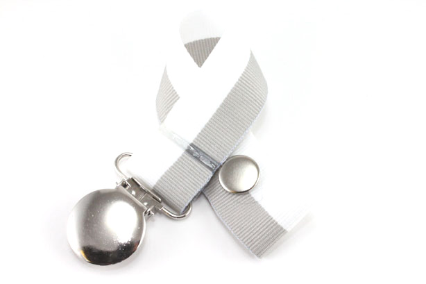 Gray/White Bi-Stripe Pacifier Holder-Gray/White Bi-Stripe Pacifier Holder