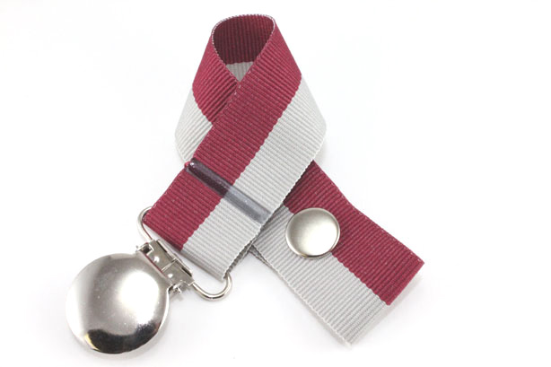 Gray/Wine Bi-Stripe Pacifier Holder-Gray/Wine Bi-Stripe Pacifier Holder