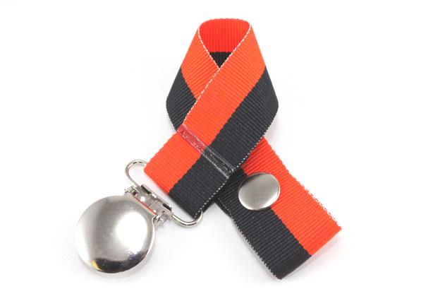 Orange/Black Bi-Stripe Pacifier Holder-Orange/Black Bi-Stripe Pacifier Holder