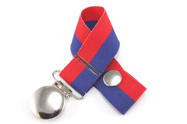 Red/Royal Bi-Stripe Pacifier Holder-Red/Royal Bi-Stripe Pacifier Holder