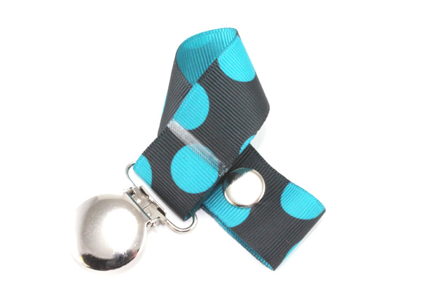 Black Blue Dots Pacifier Holder-Black Blue Dots Pacifier Holder