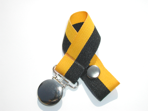 Black/Gold Bi-Stripe Pacifier Holder-Black/Gold Bi-Stripe Pacifier Holder