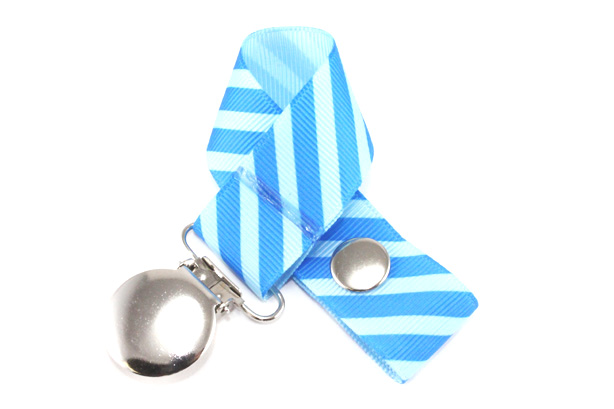 Blue on Blue Stripes Pacifier Holder-Blue on Blue Stripes Pacifier Holder