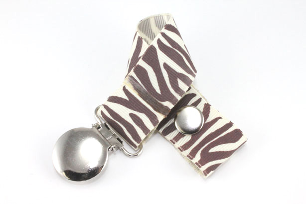 Zebra  Brown/Cream Pacifier Holder-Zebra  Brown/Cream Pacifier Holder