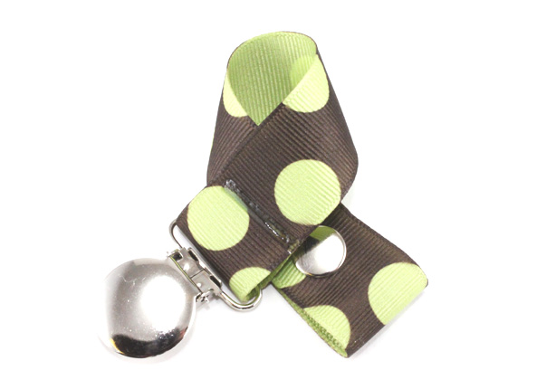 Brown with Green Dots Pacifier Holder-Brown with Green Dots  Pacifier Holder