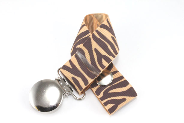 Zebra  Brown/Old Gold Pacifier Holder-Zebra  Brown/Old Gold Pacifier Holder