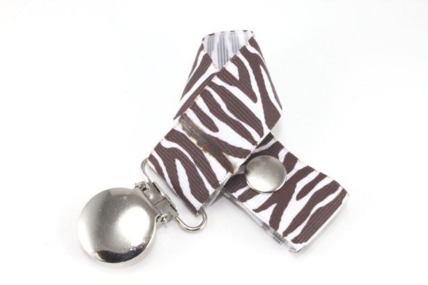 Zebra  Brown/White Pacifier Holder-Zebra  Brown/White Pacifier Holder