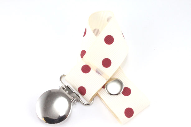 Cream w/ Rust Polka Dots Pacifier Holder-Cream w/ Rust Polka Dots Pacifier Holder
