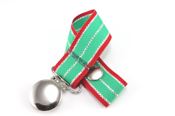 Holiday Silver Pacifier Holder-Holiday Silver Pacifier Holder