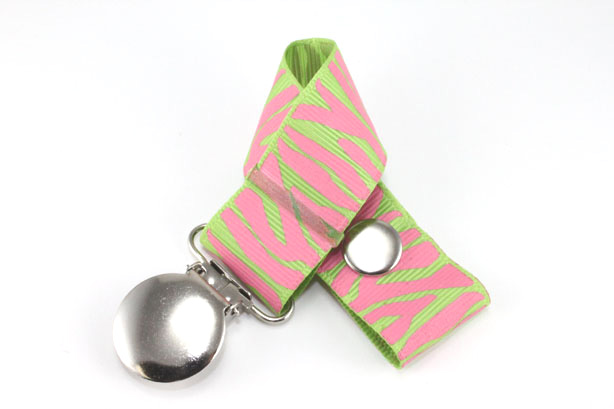 Zebra  Hot Pink/Apple Green Pacifier Holder-Zebra  Hot Pink/Apple Green Pacifier Holder