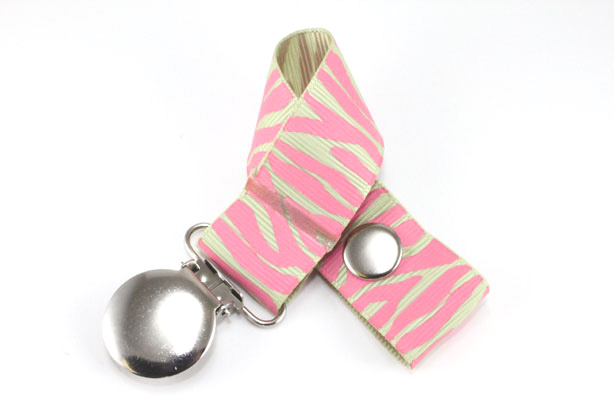 Zebra  Hot Pink/Lime Juice Pacifier Holder-Zebra  Hot Pink/Lime Juice Pacifier Holder