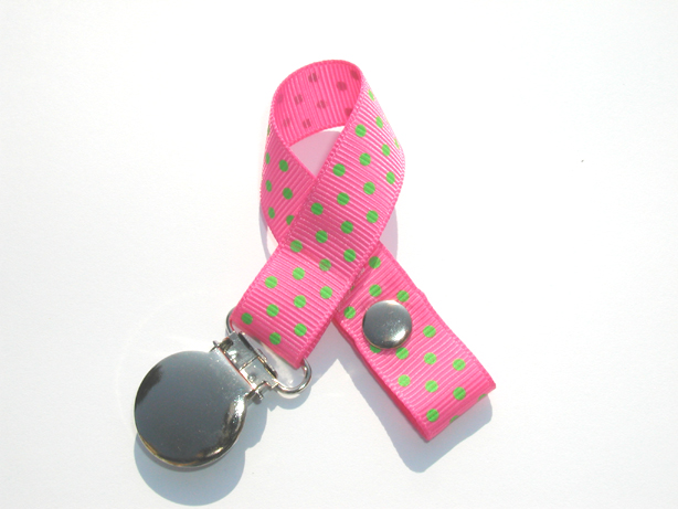 Hot Pink w/ Green  Mini Swiss Dots Small Pacifier Holder-Hot Pink w/ Green   Mini Swiss Dots Small Pacifier Holder