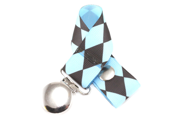 Jester Petite Chocolate on Blue Pacifier Holder-Jester Petite Chocolate on Blue Pacifier Holder