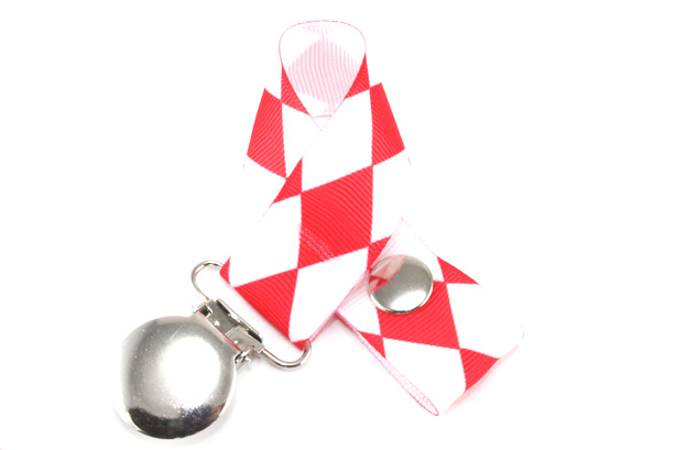 Jester Petite Red on White Pacifier Holder-Jester Petite Red on White Pacifier Holder
