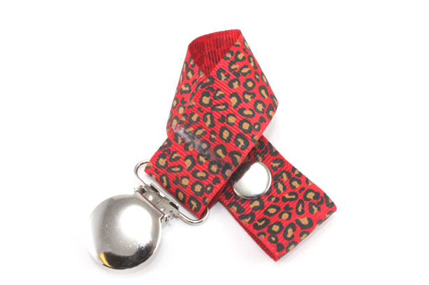 Leopard Red Pacifier Holder-Leopard Red Pacifier Holder