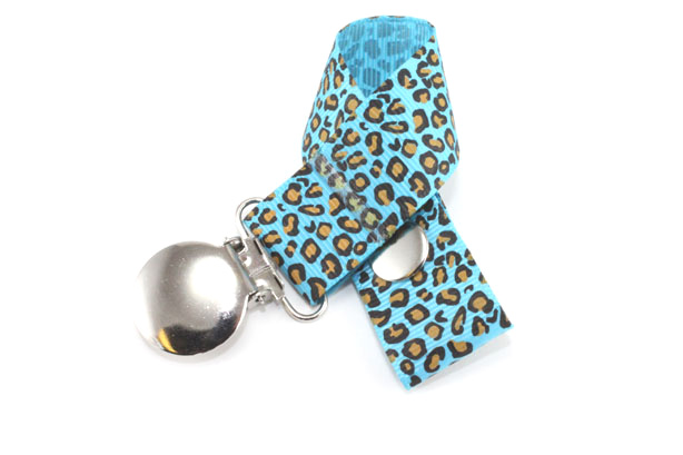 Leopard Turquoise Pacifier Holder-Leopard Turquoise Pacifier Holder