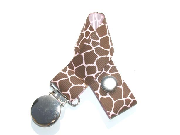 Giraffe Lt. Pink Background Pacifier Holder-Giraffe Lt. Pink Background Pacifier Holder