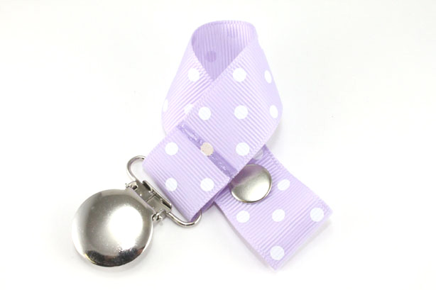 Lt. Orchid w/ White Swiss Dots Pacifier Holder-Lt. Orchid w/ White Swiss Dots Pacifier Holder