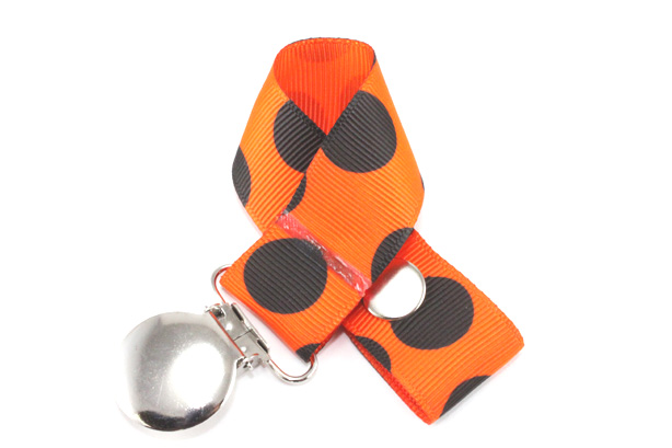Black Dot on Orange Pacifier Holder-Black Dot on Orange Pacifier Holder