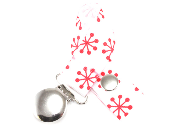 Red Snowflakes Pacifier Holder-Red Snowflakes Pacifier Holder