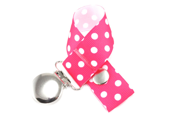 Pink on White Small Dots Pacifier Holder-Pink on White Small Dots Pacifier Holder